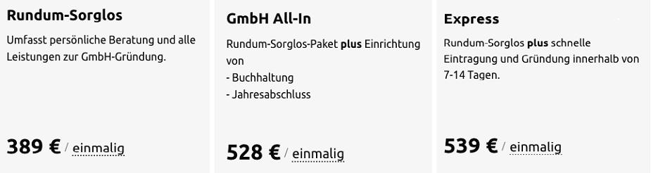 Beispiel: Gründungskosten in der Übersicht bei Firma.de